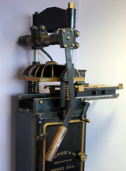 Hand operated printing press image